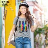 ราคา Semir ฤดูใหม่ชวนสาวเกาหลีผ้าฝ้ายแขนสั้นตัวลูกเรือคอเสื้อยืด สีเทา ใหม่