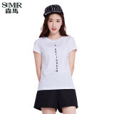 ขาย Semir Summer New Women Korean Casual Letter Cotton Crew Neck Short Sleeve T Shirts White Semir เป็นต้นฉบับ