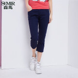 ทบทวน Semir Summer New Women Korean Casual Plain Zip Cropped Skinny Cotton Chinos Pants Light Green Semir