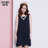 Semir Summer New Women V Neck Sleeveless Loose Comfortable Dress Dark Blue ใหม่ล่าสุด