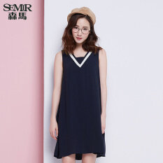 ขาย Semir Summer New Women V Neck Sleeveless Loose Comfortable Dress Dark Blue Semir ออนไลน์