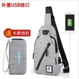 ราคา Senkey Style Chest Pack Single Shoulder Strap Back Bag Canvas Travel Men Crossbody Bags Rucksack Chest Bag With Usb Interface Grey Intl ถูก