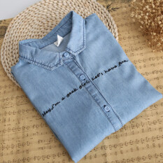 ราคา ราคาถูกที่สุด เสื้อปักญี่ปุ่นเสื้อยีนส์วินเทจ สีฟ้า Series