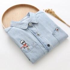 ซื้อ เกาหลีปักคนร้ายแขนยาวกระเป๋าเสื้อยีนส์ แสงสีฟ้า Series ออนไลน์ ถูก