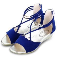 เซ็กซี่แบบมีซิปเหล็กรัดส้นเท้าไขว้รองเท้าแตะสำหรับผู้หญิง สีน้ำเงิน ถูก