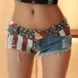 ซื้อ S*xy Women Shorts American Us Flag Printed Mini Jeans Hot Pants Denim Low Waist Tassel Hole Lady Short Pants Intl ถูก