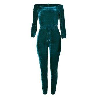Sexy Women Velvet Jumpsuit Off Shoulder Long Sleeve Warm Playsuit Rompers One Piece Bodysuit Overalls Pink/Burgundy/Blue - intl