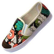 ส่วนลด สินค้า Sh1 รองเท้าผ้าใบลายการ์ตูนตาโต