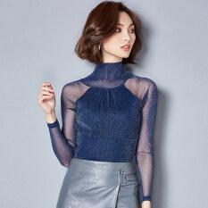 ขาย ซื้อ เซ็กซี่เส้นด้ายสุทธิหญิง Shayi เสื้อขนาดเล็ก Bottoming เสื้อ บางๆสีฟ้า