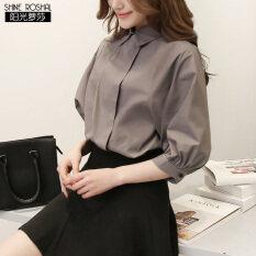 ขาย ซื้อ Shine Roshal เกาหลี Ol ไซส์พิเศษไซส์ใหญ่พิเศษแขนเสื้อผ้าฝ้ายแขนโคมไฟเสื้อเชิ้ต สีเทา ใน ฮ่องกง
