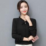 ขาย บน Shinhan หญิงแขนยาวแฟชั่นเสื้อชีฟองเสื้อ สีดำ ฮ่องกง
