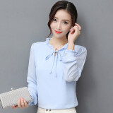 ทบทวน บน Shinhan หญิงแขนยาวแฟชั่นเสื้อชีฟองเสื้อ แสงสีฟ้า Unbranded Generic