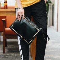 โปรโมชั่น กระเป๋าถือแต่งหมุดย้ำชายหญิงยี่ห้อEtonweag สีดำ สีดำ Etonweag ใหม่ล่าสุด
