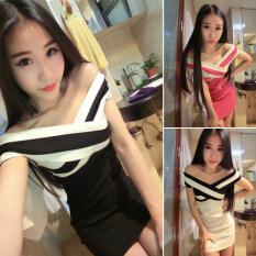 ขาย กระโปรงสะโพกเกาหลีชุดเดรสสลิมบางคอ สีดำ ถูก