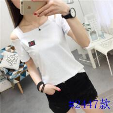 ราคา แฟชั่นผ้าฝ้ายสีดำและสีขาวหญิงแขนสั้นเสื้อเสื้อยืด สีขาว สีขาว Unbranded Generic ใหม่