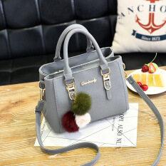 ส่วนลด กระเป๋าถือสำหรับผู้หญิง กระเป๋าแฟชั่นสไตล์เกาหลี สีเทา สีเทา
