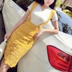 ราคา ราคาถูกที่สุด ชุดเดรสแฟชั่นฤดูร้อนหญิงใหม่ สีเหลือง