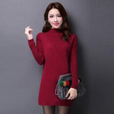 ขาย Shishang ป่าสีทึบครึ่งสูงคอกลม Bottoming เสื้อกันหนาวถักเสื้อ ไวน์แดง