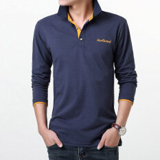 ขาย ซื้อ ออนไลน์ Shishang สีทึบผู้ชายปกเสื้อ Bottoming เสื้อยืด ไพลินสีส้มปก