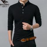 ขาย Shishang ผ้าฝ้ายสีทึบชายยืนขึ้นปกเสื้อ Bottoming เสื้อยืด 8165 สีดำ ถูก