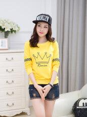 ส่วนลด เสื้อยืดแขนยาว ผู้หญิง สไตล์เกาหลี สีเหลือง 8291 มงกุฎ สีเหลือง 8291 มงกุฎ Unbranded Generic