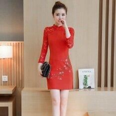 ราคา Cheongsam แฟชั่นฤดูใบไม้ร่วงใหม่สลิม สีแดง
