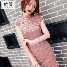ขาย ย้อนยุคและผ้าลินินสาวอารมณ์ชุดเดรส Cheongsam เสื้อผ้าแฟชั่น สีเทาสีชมพู ถูก ฮ่องกง