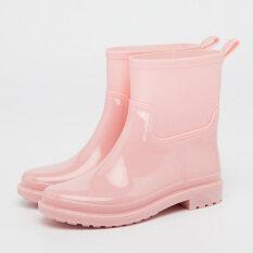 แฟชั่นมาร์ตินลื่น Duantong รองเท้าฝน Wellies สีชมพู ถูก