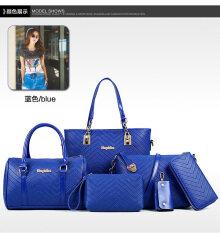 ขาย ชุดกระเป๋าแพ็ค6กระเป๋า ของผู้หญิง ลายตัวVงานทำลายนูน สีฟ้า สีฟ้า ใหม่