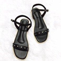 ราคา รองเท้ารัดส้น Shoes By Naris ดีไซน์ประดับเพชร สีดำ ออนไลน์