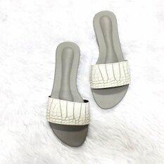 ขาย รองเท้าแตะสวม Shoes By Naris รุ่นหนังจระเข้เงา สีขาว กรุงเทพมหานคร