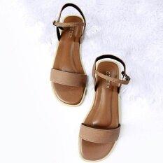 รองเท้าสไตล์มินิมอลshoes By Naris แผ่นตรง พร้อมสายหลัง สีน้ำตาล.