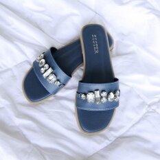 รองเท้าShoes By Naris สไตล์มินิมอล ผ้าเรียบดีไซน์คาดเพชรใหญ่ สีน้ำเงิน ใหม่ล่าสุด
