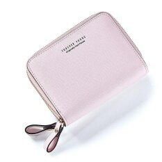 โปรโมชั่น Short Wallet 2017 New Woman Short Wallet Korean Fashion Multi Double Zipper Wallet Card Pink Intl ใน จีน