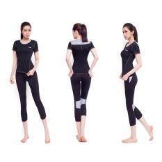 โปรโมชั่น Siboon ชุดออกกำลังกาย ชุดโยคะ ฟิตเนส เสื้อแขนสั้น บรา กางเกงขาสี่ส่วน สำหรับผู้หญิง Sport And Yoga Suit Top Long Black Siboon ใหม่ล่าสุด