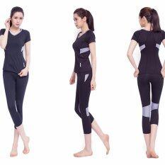 ราคา Siboon ชุดออกกำลังกาย ชุดโยคะ ฟิตเนส เสื้อแขนสั้น บรา กางเกงขาสี่ส่วน สำหรับผู้หญิง Sport And Yoga Suit Top Long Black Siboon เป็นต้นฉบับ