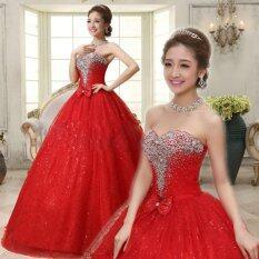 ซื้อ ชุดเจ้าสาวสีแดงยาวหรูหราชุดเจ้าสาวลูกไม้ปักปักประดับคริสตัลชุดแต่งงานอย่างเป็นทางการ ใน Thailand