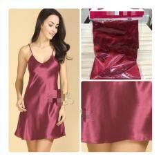 ซื้อ ชุดนอน เดรสสายเดี่ยว ผ้ามัน Silk ซาติน สีแดงเลือดหมู ออนไลน์