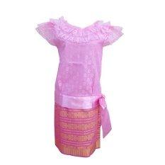 ขาย Sirirat ชุดไทย สมัย ร 7 เสื้อลูกไม้ สีชมพู กระโปรง ผ้าไทยแพรวา สีชมพู ออนไลน์ Thailand