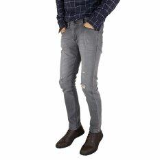 ราคา กางเกงยีนส์ชายทรงสลิม สีโคลนฟอกด่างขาดเข่า Sixty Nine Denim Type B02D Hipper ใหม่