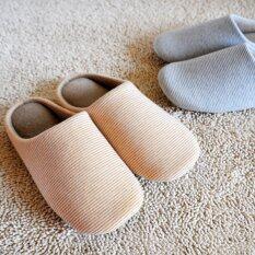 ขาย ซื้อ รองเท้าใส่ในบ้าน สีน้ำตาลสลับครีมลายทาง หญิง Size M 34 39 กรุงเทพมหานคร