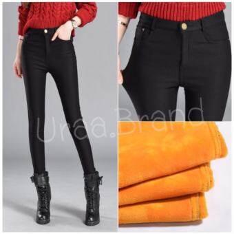 Skinny Wool สกินนี่บุขน สกินนี่กันหนาว กางเกงขายาวบุขน กางเกงกันหนาว แม้อุณหภูมิติดลบ แต่งกระดุม 1 เม็ด และซิป รุ่น แต่งกระดุม 1 เม็ด (สีดำ)