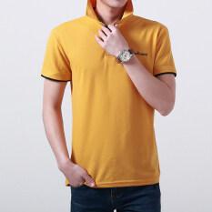 ซื้อ เกาหลีสีทึบชาย Slim เสื้อโปโลเสื้อยืด สีส้มปกสีดำ ใหม่ล่าสุด