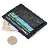 ราคา ผู้ถือบัตรเครดิตกระเป๋าสตางค์บางเคสกระเป๋าเงินประจำมินิกระเป๋าสีดำ เป็นต้นฉบับ