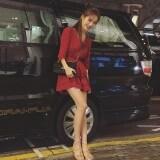 ขาย ขนาดเล็กลมหอมเกาหลีใหม่กระโปรง สีแดง รูป ผู้ค้าส่ง
