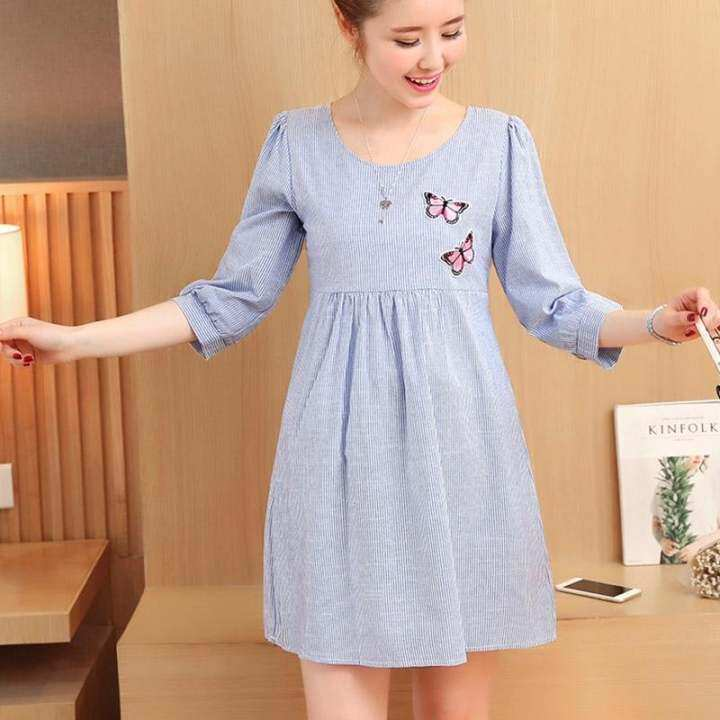 โปรโมชั่น Small Wow Maternity Daily Round Stripe Cotton Loose Above Knee Dress Blue