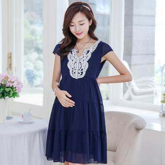 รีวิว Small Wow Maternity Korean V-neck Solid Color chiffon Above Knee Dress Dark Blue
