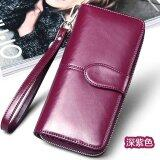 ขาย ซื้อ Sng High Grade Female Wallets Series Sendefn 100 Oil Wax Cowhide Leather Women Wallet Phone Pocket Purse Wallet Female Card Holder Wallet Lady Clutch Dark Purple Intl