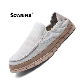 2017 ใหม่บุรุษแฟชั่นลื่นรองเท้าผ้าใบรองเท้าผ้าใบรองเท้าสบายๆ Kasut Kasual Lelaki (สีเบจ) - นานาชาติ