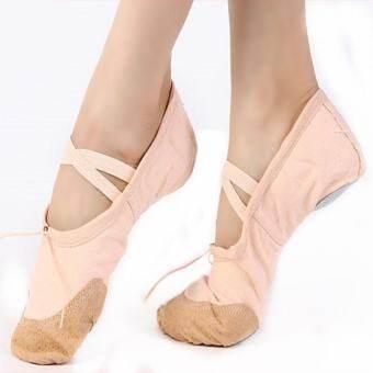 โปรโมชั่น เด็กอ่อนผู้ใหญ่ผ้าใบสตรีรองเท้าบัลเล่ต์โยคะยิมนาสติกรองเท้า